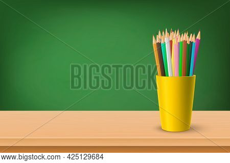 Back To School. Vector 3d Realistic Green Chalkboard, Wooden Frame And Cup With Pencils. Chalkboard