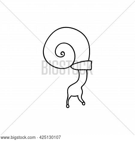 Single Hand Drawn Snail. Vector Illustration In Doodle Style. Isolate On A White Background.