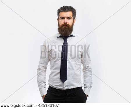 Business Man Isolated. Portrait Of Serious Businessman, Isolated On White Background. Business Succe