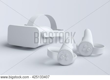 Virtual Reality Monochrome Glasses And Controllers For Online And Cloud Gaming On White Background.