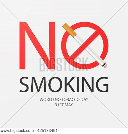 Vector No Smoking Area Sign, Symbol, Label, Web Banner. Realistic 3d Cigarette. Do Not Smoke Here. M