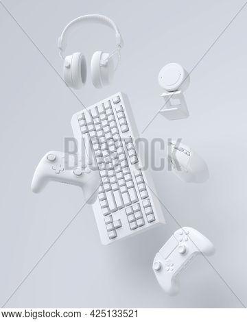 Flying Gamer Monochrome Gears Like Mouse, Keyboard, Joystick, Headset, Vr Headset. Web Camera On Whi