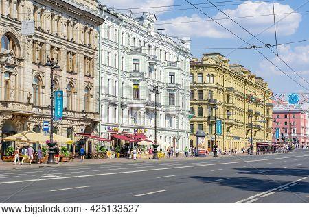 Saint Petersburg, Russia - June 2021: Nevsky Prospect Architecture In Saint Petersburg