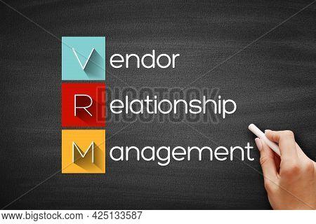 Vrm - Vendor Relationship Management Acronym, Business Concept On Blackboard