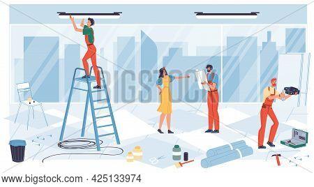 Vector Cartoon Flat Industrial Worker Characters At Office Renovation Work.builder Workers Repair, D