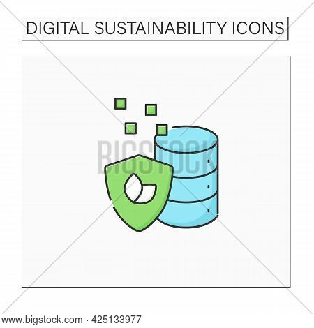 Data Sustainability Color Icon. Energy And Food Demand As World Population.big Data.digitization Con