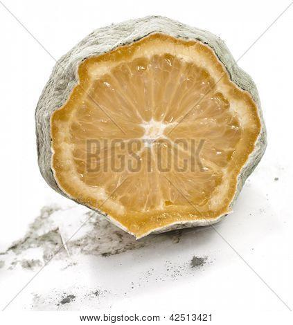 moldy lemon isolated over white background