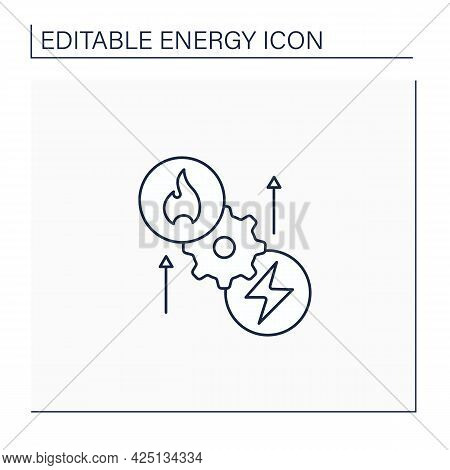 Thermoelectric Generator Line Icon. Seebeck Generator. Thermal Energy Conversion To Electrical Energ