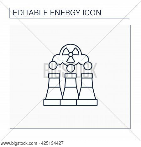 Fusion Reactor Line Icon. Electrical Power From Nuclear Fusion Power. Electricity Station Concept. I
