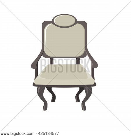 Vintage Antique Chair Or Armchair Of Neutral Gray Color, Solemn Ceremonial Appearance. Isolated On A