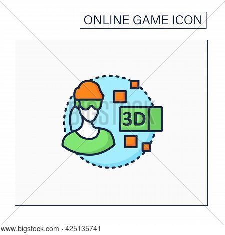 3d Gameplay Color Icon. Gaming Using Virtual Reality Goggles. Smart Technology. Being Real Time Game
