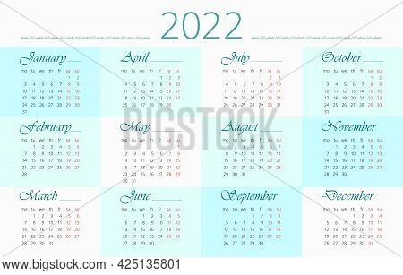 2022 Calendar In English On Background With Checker Pattern. 12 Months, English. Horizontal, Simple