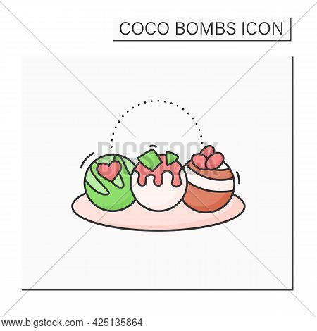 Coco Bombs Color Icon. Delicious Dessert. Cute Balls Of Chocolate With Marshmallows Filling. Candies