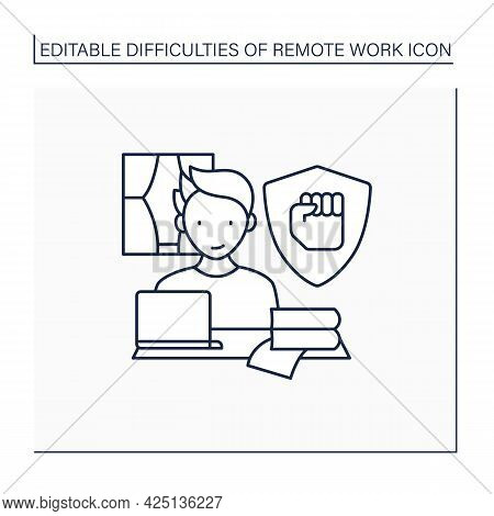 Remote Work Line Icon. Staying Motivated. High Productivity. Career Difficulties Concept. Isolated V