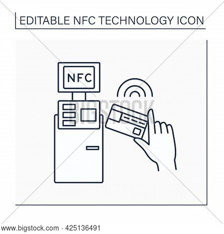 Nfc Line Icon. Safety Credit Card Payment. Paying Bills. Bank Terminal. Near Field Communication. Co