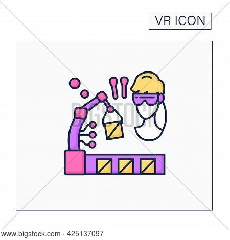 Vr Manufacturing Color Icon. Digital Design, Simulation, And Integration. Digital Production Trainin