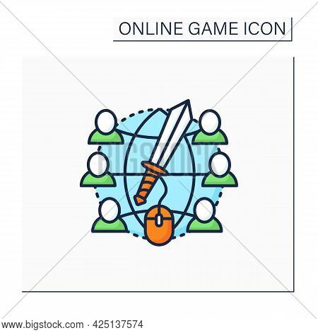 Massive Rpg Games Color Icon. Multiplayer Online Role-play Games. Inviting Friends Playing Together.