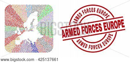 Vector Collage European Union Map Of Different Symbols And Armed Forces Europe Stamp. Mosaic Europea