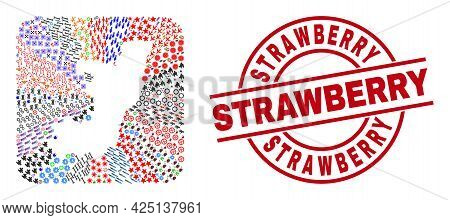 Vector Mosaic Republic Of The Congo Map Of Different Pictograms And Strawberry Seal Stamp. Mosaic Re