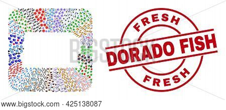 Vector Collage Brazil Distrito Federal Map Of Different Icons And Fresh Dorado Fish Badge. Mosaic Br