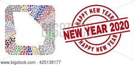 Vector Mosaic Georgia State Map Of Different Icons And Happy New Year New Year 2020 Seal Stamp. Mosa