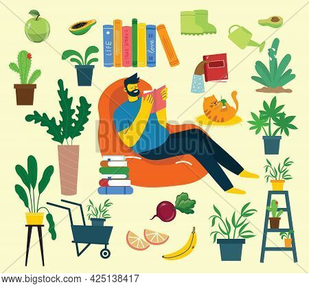 Stay Home Collection, Indoors Activities, Concept Of Comfort And Coziness, Set Of Isolated Vector Il