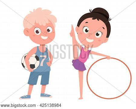 Cute Little Girl Training With Hula Hoop And Boy With Soccer Ball. Funny Cartoon Characters. Vector