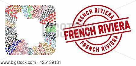 Vector Mosaic Burgundy Province Map Of Different Icons And French Riviera Seal Stamp. Mosaic Burgund