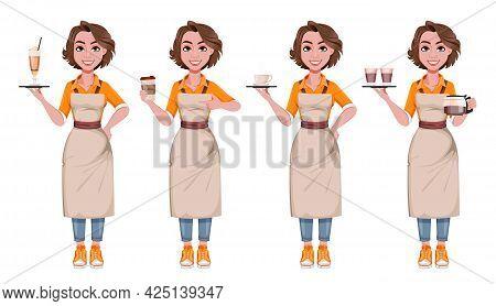 Female Barista, Set Of Four Poses. Coffee Business Concept. Beautiful Woman Barista Cartoon Characte