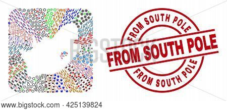 Vector Collage South African Republic Map Of Different Pictograms And From South Pole Seal Stamp. Co