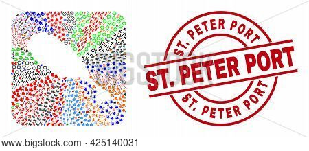 Vector Mosaic St Kitts Island Map Of Different Symbols And St. Peter Port Seal. Mosaic St Kitts Isla