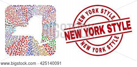 Vector Collage New York State Map Of Different Symbols And New York Style Seal Stamp. Collage New Yo