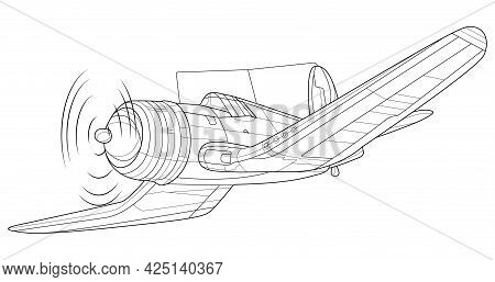Adult Coloring Page For Book And Drawing. Plane Vector . Black Contour Sketch Illustrate Isolated On