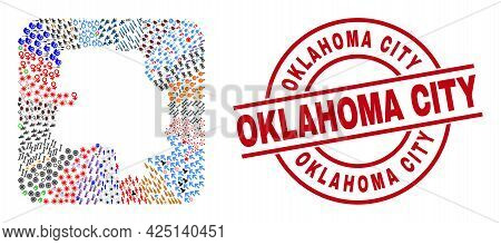 Vector Collage New Delhi City Map Of Different Pictograms And Oklahoma City Stamp. Collage New Delhi