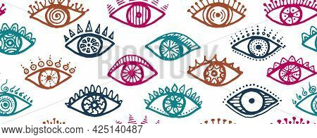 Hand Drawn Female Eyes Trendy Endless Ornament. Pop Art Graphic Style Illustration. Cosmetics Packag