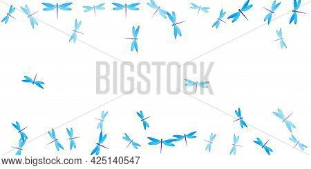 Tropical Cyan Blue Dragonfly Flat Vector Background. Summer Colorful Insects. Simple Dragonfly Flat