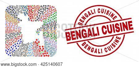 Vector Collage Bangladesh Map Of Different Pictograms And Bengali Cuisine Stamp. Collage Bangladesh