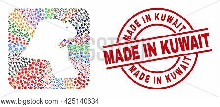 Vector Collage Kuwait Map Of Different Symbols And Made In Kuwait Seal. Collage Kuwait Map Construct