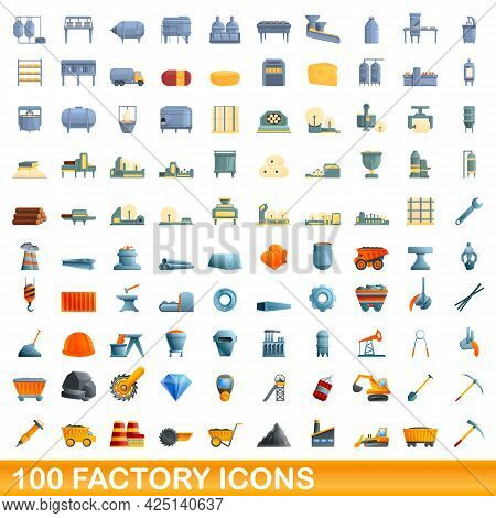 100 Factory Icons Set. Cartoon Illustration Of 100 Factory Icons Vector Set Isolated On White Backgr