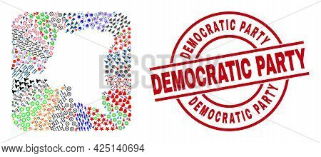 Vector Collage Democratic Republic Of The Congo Map Of Different Symbols And Democratic Party Seal S