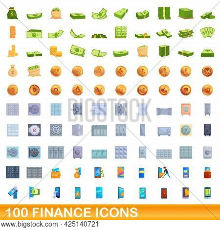 100 Finance Icons Set. Cartoon Illustration Of 100 Finance Icons Vector Set Isolated On White Backgr