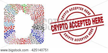 Vector Mosaic Flores Island Of Azores Map Of Different Symbols And Crypto Accepted Here Stamp. Mosai