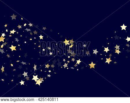 Gold Gradient Star Dust Sparkle Vector Background.