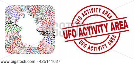 Vector Mosaic Anhui Province Map Of Different Pictograms And Ufo Activity Area Stamp. Mosaic Anhui P