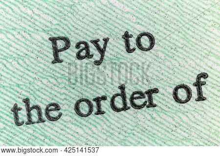 Macro view of Pay to the order of notation on a United States Treasury Check.