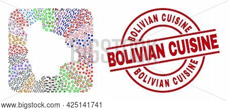 Vector Mosaic Bolivia Map Of Different Pictograms And Bolivian Cuisine Stamp. Mosaic Bolivia Map Con