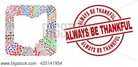 Vector Mosaic Ohio State Map Of Different Icons And Always Be Thankful Badge. Mosaic Ohio State Map