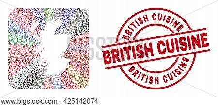 Vector Mosaic Scotland Map Of Different Symbols And British Cuisine Seal Stamp. Mosaic Scotland Map