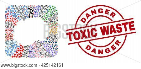 Vector Mosaic Macedonia Map Of Different Icons And Danger Toxic Waste Seal Stamp. Mosaic Macedonia M