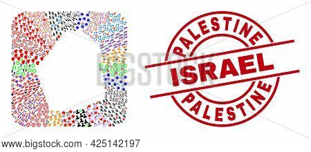 Vector Collage Dubai Emirate Map Of Different Icons And Palestine Israel Seal Stamp. Mosaic Dubai Em
